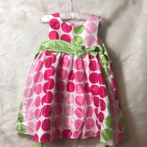 Toddler Pink & Green Polka Dot Dress
